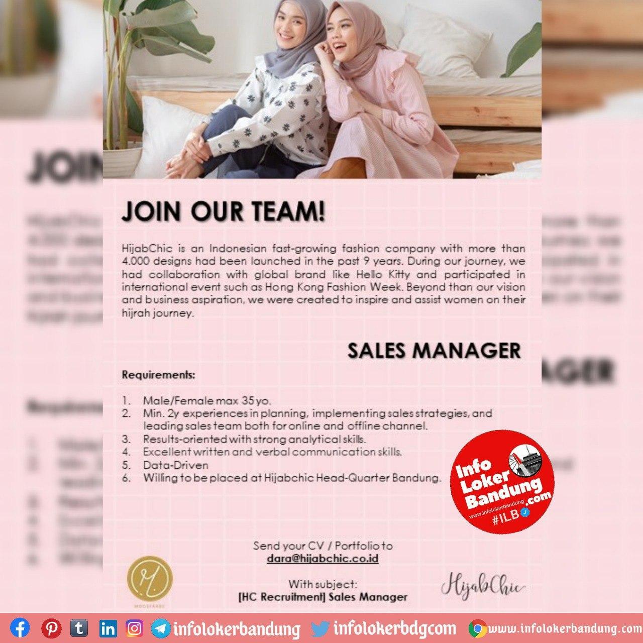 Lowongan Kerja Sales Manager & Online Sales Associate Hijab Chick Bandung Oktober 2020