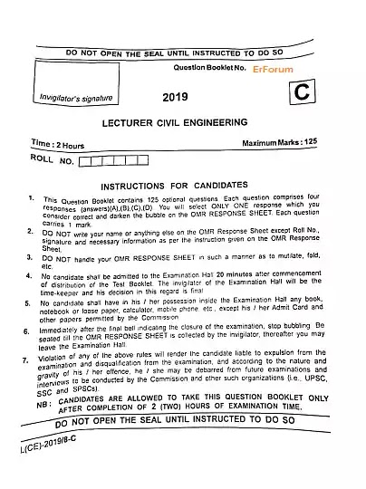[PDF] Polytechnic Lecturer Civil Engineering Question Paper