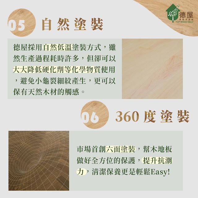 德屋天然木地板特色|自然塗裝法,採360度全方位塗裝