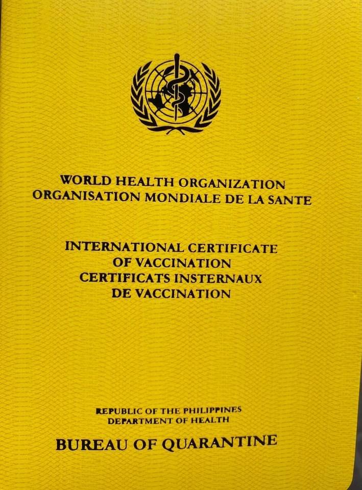 sample BOQ Yellow Vaccine Card Bureau of Quarantine Philippines