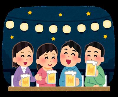 ビアガーデンのイラスト(私服・夜)