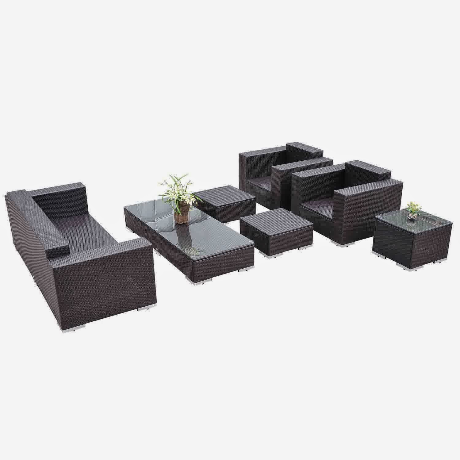 Outdoor Rattan Wicker Sofa Sectional Patio Furniture Set Reclining Loveseat With Sleeper Outsunny 7pc Pe