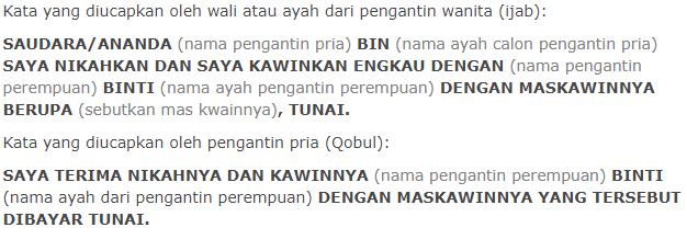 bacaan lafal ijab kabul bahasa indonesia