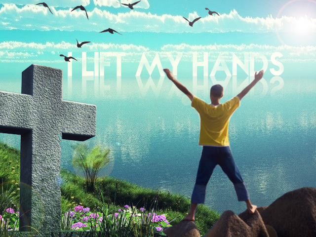 I Lift My Hands Sea Wallpaper Cross