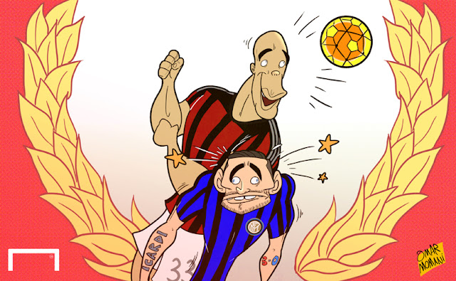 Alex above Icardi scoring a header cartoon