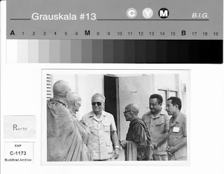 "Lao Buddhist Photo Archive - Rare documented visits of the Buddhist monks of Luangprabang to the ""Liberated Zone and the north-eastern provinces of Laos during the Civil War.  Here in this photo they meet with former Prime Minister Kaisone Phomvihane."
