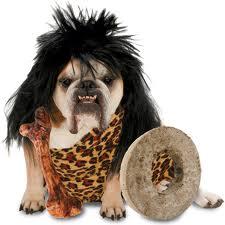 Perro disfrazados de cavernícola.