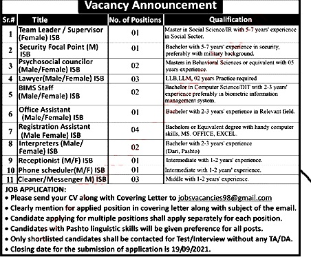 NGO Latest Jobs in Islamabad September 2021 Registration Assistants, Lawyers & Others Latest