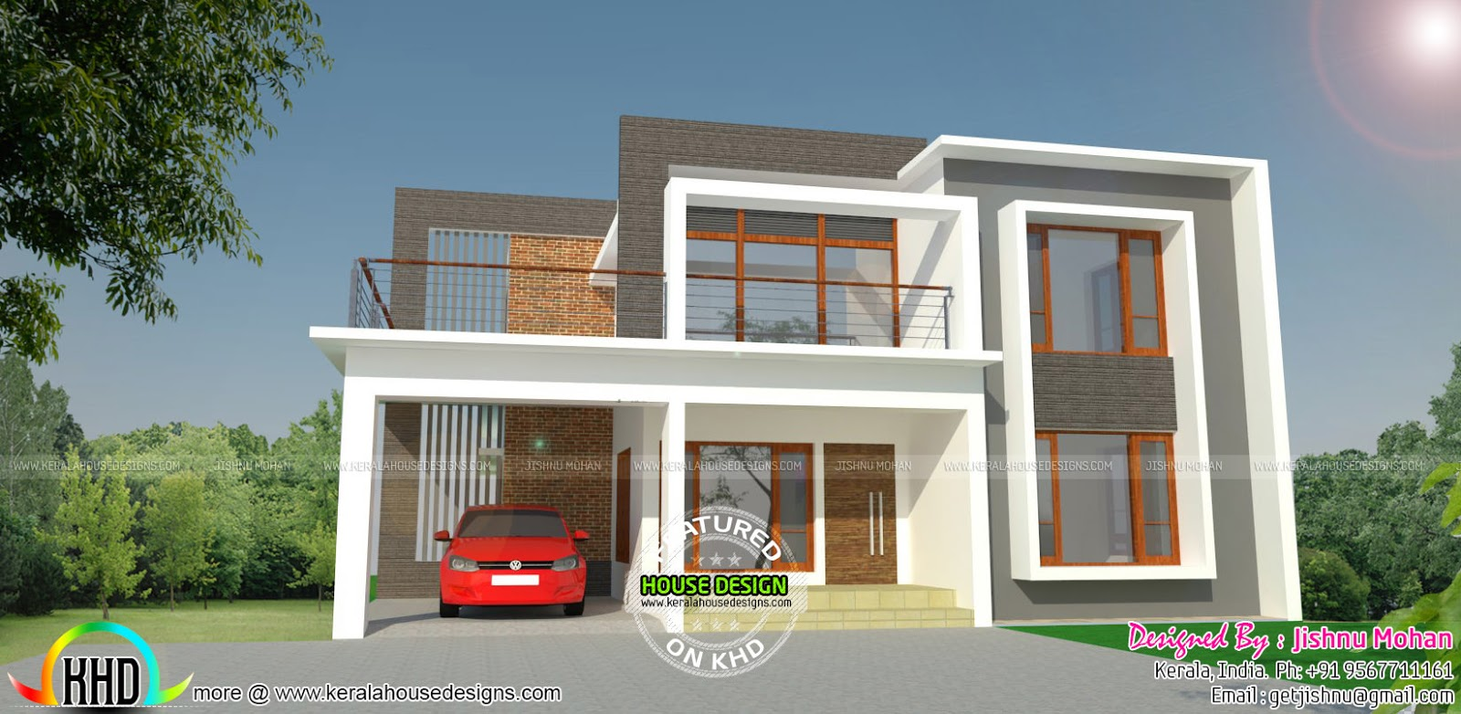 Modern Flat Roof Residence With Plan Home Design Simple