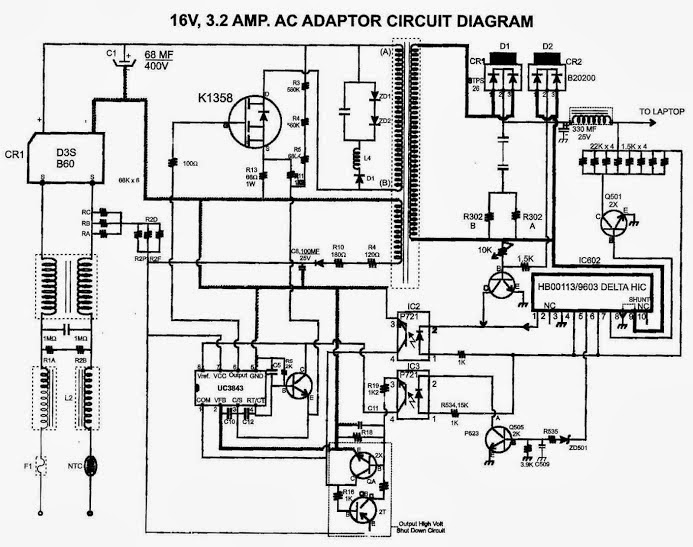 19v laptop power supply circuit diagram