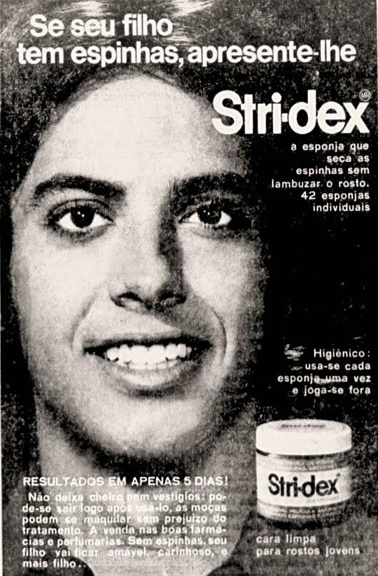 Propaganda antiga de creme para combater espinhas apresentado em 1972