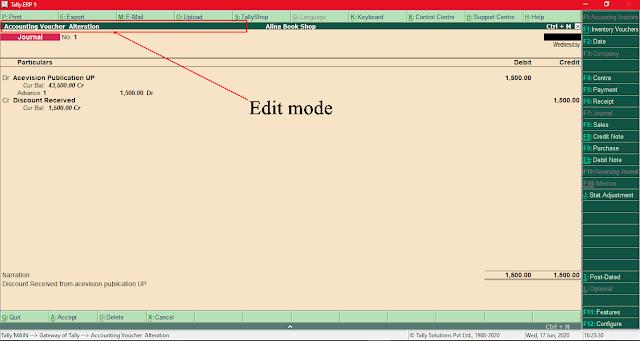 Journal Voucher Edit mode