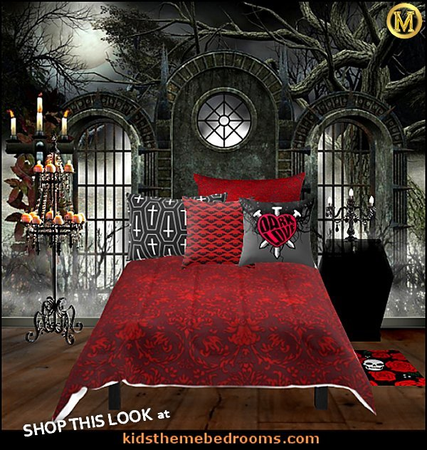 gothic bedroom ideas - gothic bedroom decor   gothic wall murals  red blood bedding coffin throw pillows coffin nightstand gothic bedrooms by maries manor