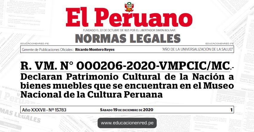 R. VM. N° 000206-2020-VMPCIC/MC.- Declaran Patrimonio Cultural de la Nación a bienes muebles que se encuentran en el Museo Nacional de la Cultura Peruana