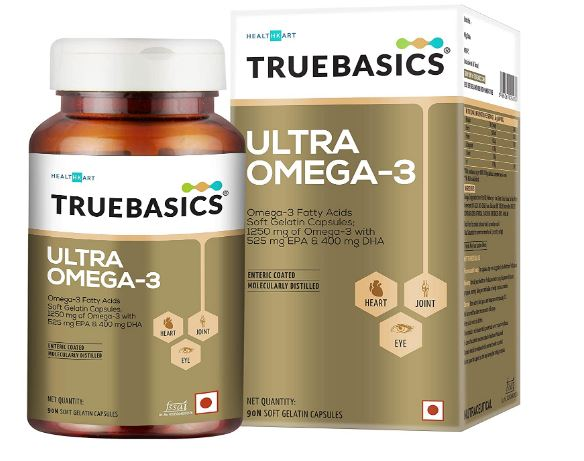 TrueBasics Ultra Omega Fish Oil Triple Strength Enriched With 1250 Mg With 525Mg EPA & 400Mg DHA & Vitamin E - 90 Softgels (Omega 3 Fish Oil, 90 Capsules)