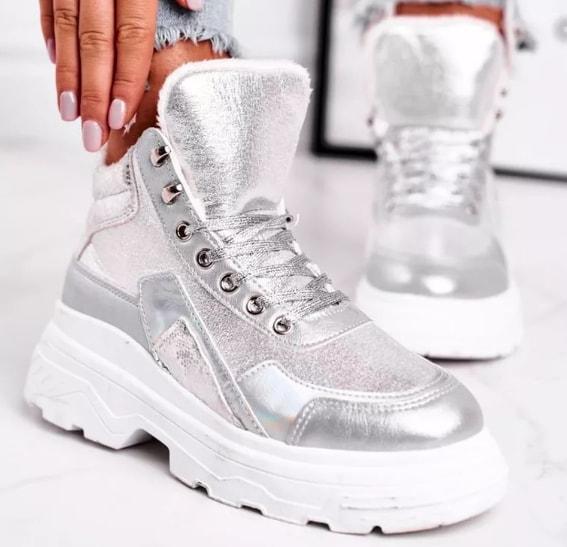 Pantofi sport inalti de iarna argintii imblaniti