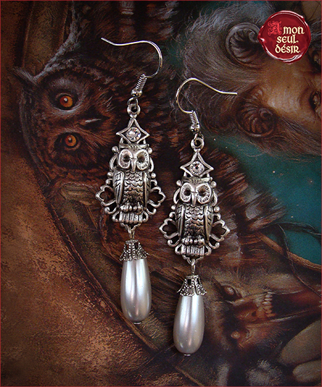 Boucles Oreilles chouette hiboux Gahoole Magie Blanche Wicca Edwige Bijouw Owls Owl earrings Jewelry White Magic Witchy Witchcraft Wiccan