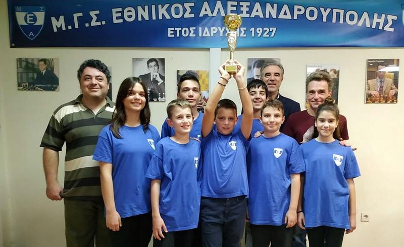 Πρωταθλήτρια Περιφέρειας ΑΜ-Θ και Σερρών η Σκακιστική ομάδα Παίδων - Κορασίδων του Εθνικού Αλεξανδρούπολης