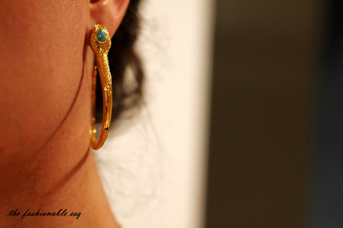 gold and turquoise snake earrings
