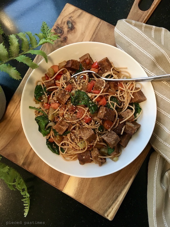 Stir Fried Veggies with Ginger Teriyaki Tofu and Spaghetti by Pieced Pastimes