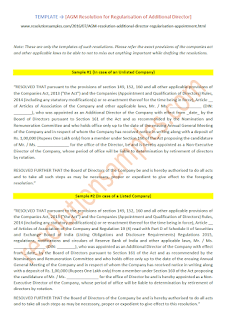 draft resolution for regularisation of additional director in agm under companies act 2013