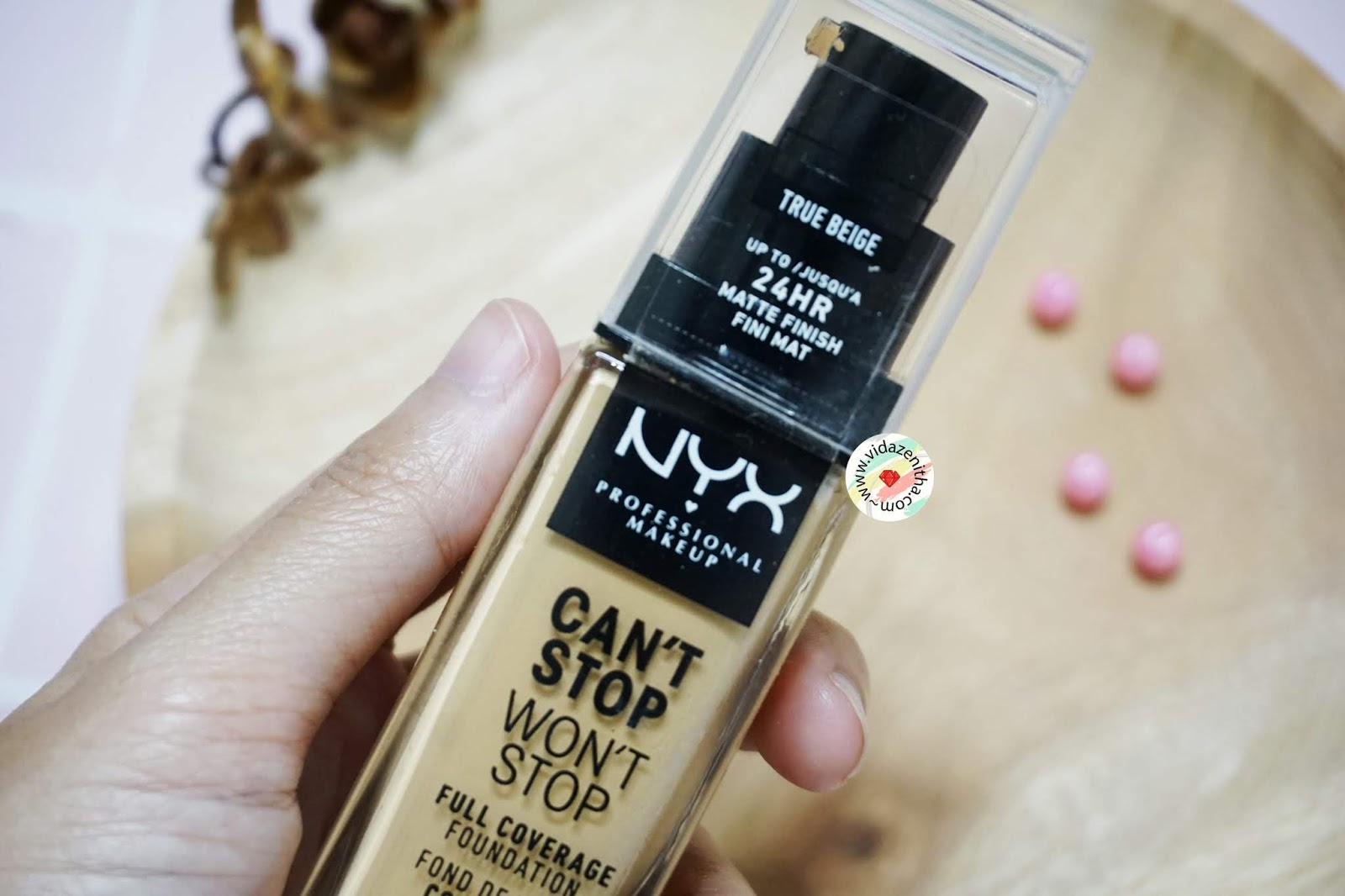 review NYX Matte Foundation Can't Stop Won't Stop True Beige