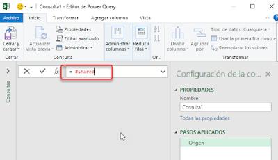 Power Query: #shared-Listado de funciones M
