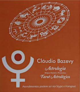 Cartão em fundo ocre. Acima, com leve inclinação à esquerda, uma mandala zodiacal, abaixo, à esquerda, o símbolo de Plutão: em traços brancos, um círculo inserido em um semicírculo com um uma cruz externa na parte central e côncava. À direita, o texto em letras brancas: Cláudio Bazevy, abaixo, Astrologia, Mapa Astral e Previsões, Tarot Astrológico, e no rodapé: Atendimentos podem ser via Skype e Hangout.   email: claudiobazevy@hotmail.com