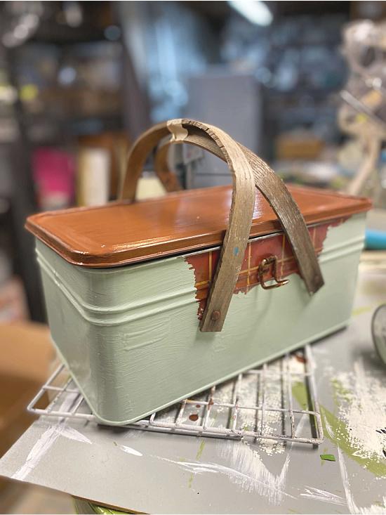 Painted metal picnic basket
