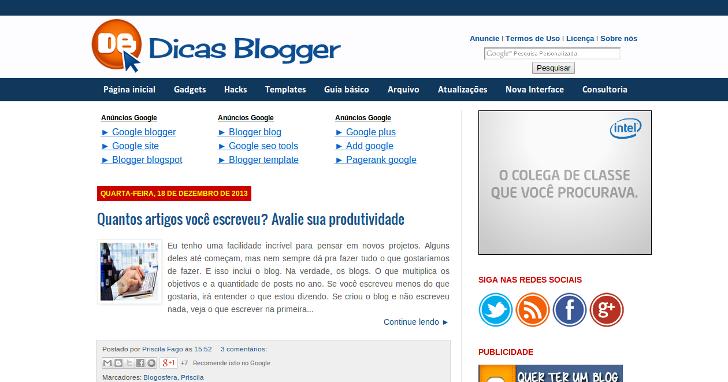 Dicas Blogger em 26/12/2013