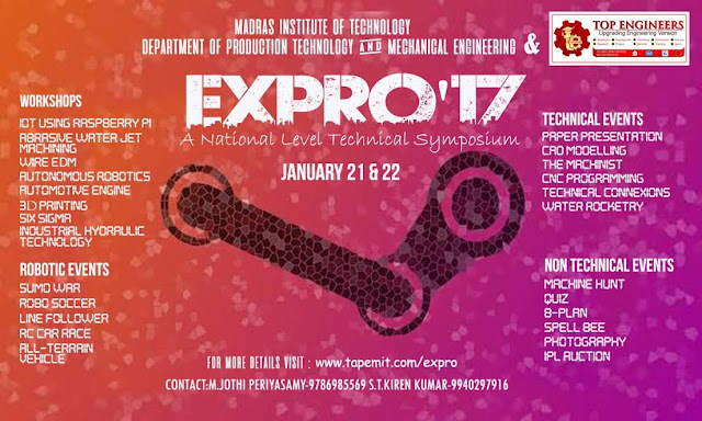 EXPRO 17: A National Level Symposium at MIT, Chennai on Jan 21-22, 2017