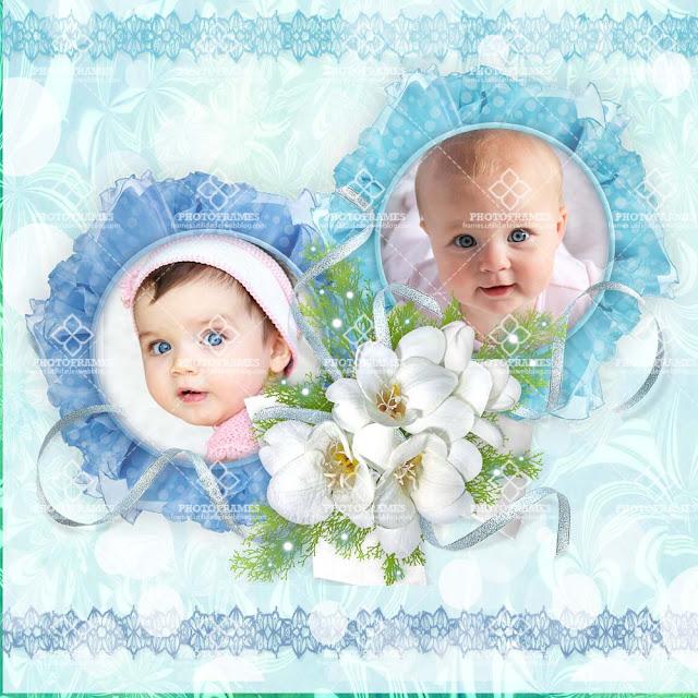 Marco para colocar dos fotos de bebés