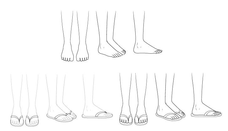 Sandal anime menggambar selangkah demi selangkah