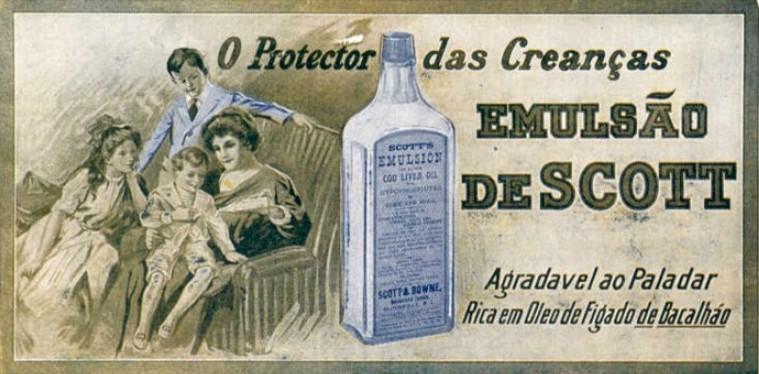 Propaganda antiga do Emulsão de Scott veiculada em 1917