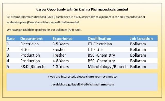 Sri Krishna Pharma   Career opportunity for Freshers and Expd   Send CV