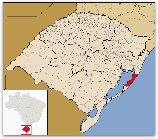 Cidade de Mostardas, no mapa do Rio Grande do Sul