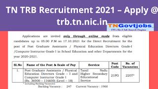 TN TRB Recruitment 2021 – Apply @ trb.tn.nic.in