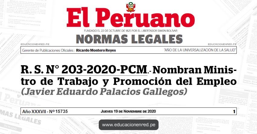 R. S. N° 203-2020-PCM.- Nombran Ministro de Trabajo y Promoción del Empleo (Javier Eduardo Palacios Gallegos)