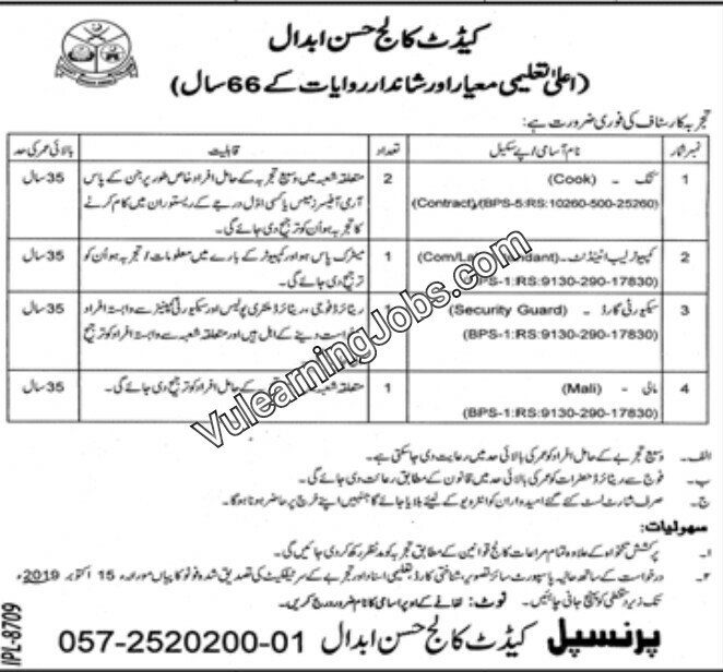 Cadet College Hassan Abdaal Jobs September 2019 For Cook, Computer Lab Attendant, Security Guard, Mali