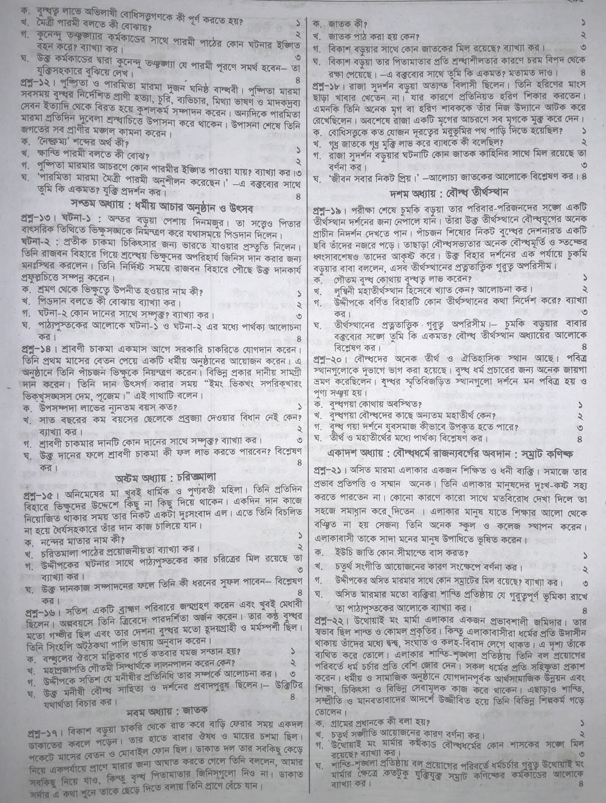 jsc Buddhist Religion & Moral Education suggestion, exam question paper, model question, mcq question, question pattern, preparation for dhaka board, all boards