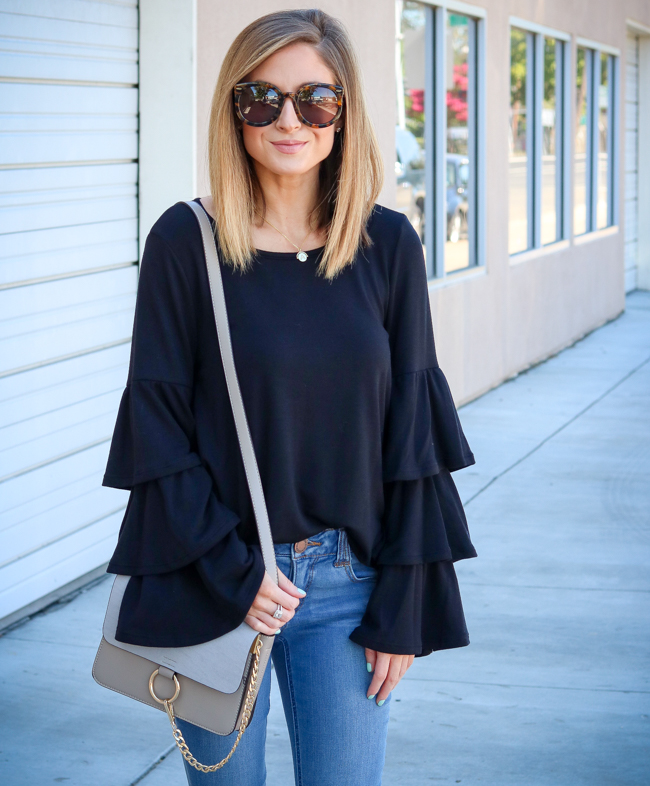 pleione tiered bell sleeve knit top
