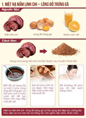 Cách đắp mặt nạ với nấm linh chi và lòng đỏ trứng gà