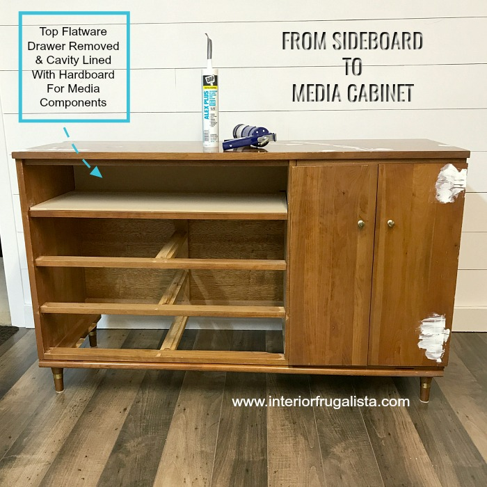 Repurposed Mid Century Cabinet DIY Media Shelf