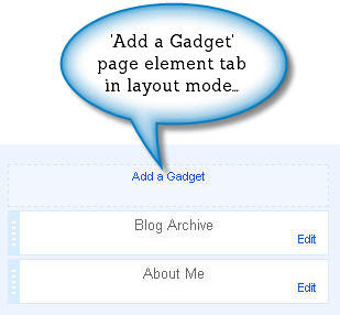 Page elements tab in layout mode