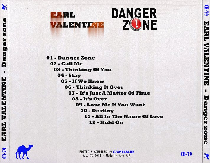 EARL VALENTINE - Danger Zone (The Unreleased Album) back