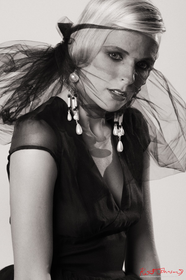 Sammy Raine, tulle dress and face veil. Studio fashion photography by Kent Johnson.