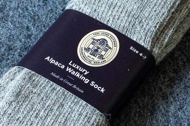 Close up of Paul James Alpaca Walking Socks Label