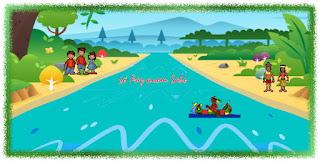 Canibais e antropólogos atravessando o rio em uma canoa de dois lugares