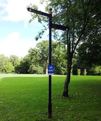 Pitch & Putt and NO GOLF signs at Appley Park in Ryde on the Isle of Wight