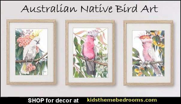 Australian Native Bird art  White Cockatoo wall art Galah prints  Pink Cockatoo art